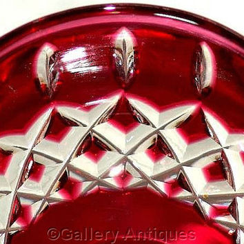 "Vintage Czech / Bohemian ? Ruby / Deep Red Flashed Crystal Cut Glass 6 11/16"" Tall Wine Hock c.1970's (ref: 3176)"