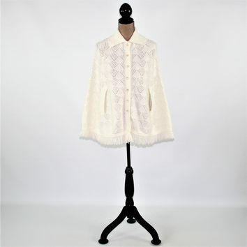 White Knit Poncho 70s's 1970s Button Up Cape Sweater Pointelle White Poncho Fringe White Cape Knit Sears Vintage Clothing Womens Clothing