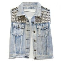 Faded Denim Tanks with Studs and Spikes