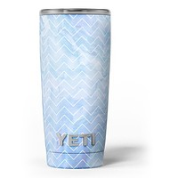 Blue Watercolor Chevron - Skin Decal Vinyl Wrap Kit compatible with the Yeti Rambler Cooler Tumbler Cups