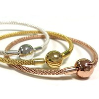 New Rose Gold & Silver Snake Chain Ball Clasp Mesh Bracelet Fit Women Bead Charm DIY Pandora Jewelry 925 Sterling Silver Bangle
