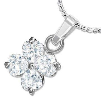 Shamrock Cubic Zirconia Four Leaf Clover Pendant Necklace
