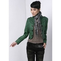Women Short Leather Jacket Stand-Up Collar Green Outerwear@XVR903gr