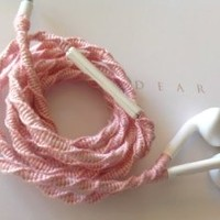 MyBuds Wrapped Tangle-Free Earbuds for iPhone   Carnation Pink with Beads   with Microphone and Volume Control