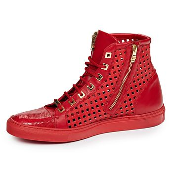 Mauri 8513 Candy Red Perforated High top Sneakers