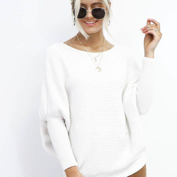 Just Enough Oversized White Chenille Sweater