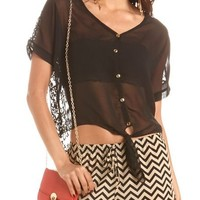 Lace-Back Button-Down Tee: Charlotte Russe