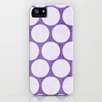 purple and white polka dots iPhone & iPod Case by her art
