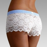 FOXERS -  Light Blue Polkadot over Ivory Lace Boxers