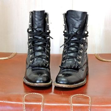 Womens roper boots  US 5 / EU 35 / vintage Justin black leather ropers / cowgirl / lace up / western ankle boots / lacers