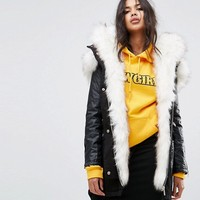 River Island Faux Fur Hooded Parka Jacket at asos.com