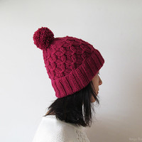 Hand Knitted Hat in Ruby - Beanie with Pom Pom - Seamless - Wool Blend - Ready to Ship