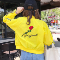 Fashion Rose embroidered sunscreens long sleeves stripe baseball uniform