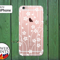 White Flowers and Stems Floral Pattern Vines Cute Clear Rubber Phone Case for iPhone 5/5s and 5c and iPhone 6 and 6 Plus + and iPhone 6s