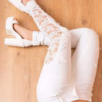 Women's fashonable hollow lace slim fit long Pants a13613