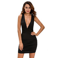 Fashion Women Ruched Sexy Black Slim Backless Sleeveless V Neck Erotic One Piece Dress _ 12496