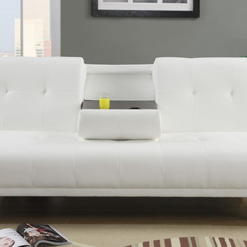 A.M.B. Furniture & Design :: Bedroom furniture :: Futon beds :: Cream faux leather upholstered futon bed with center drop down arm with cup holders and chrome legs