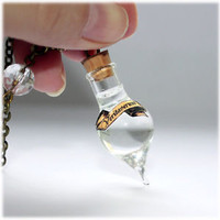 Veritaserum or Truth Potion Teardrop shape Glass Bottle Necklace. Harry Potter