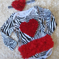 Zebra with red ruffle  red rosette heart bodysuit  Ruffle Skirt, Baby Girl romper,long sleeved Onesuit w/ Chiffon Tutu SMALL ZEBRA/BLACK