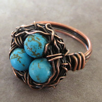 Bird Nest Ring, Wire Ring, Handmade Wire Jewelry, Copper Wire Jewelry, Girlfriend Ring,
