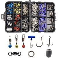 172pcs/Box Fishing Accessories Tackle Box Set Including Circle Hooks Treble Hooks Egg Sinker Weights Swivels Sinker Slides Rings