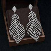Clear Mirco Pave Leaf White Gold Plated Water Drop Dangle Earring,Wedding Jewelry,Wedding Earrings