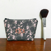 Grey with Pale Pink Cherry Blossoms Personalized/Monogrammed Mini Makeup Cosmetics Toiletries Bag Pouch Holder with Black Zipper