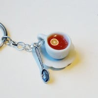 CUP OF TEA - orange - keychain