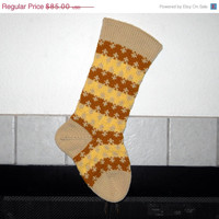 Striped Hand Knit Christmas Stocking in Gold and Yellow, can be personalized