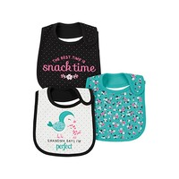 Just One You Baby Girls' 3 Pack Bibs Bird Grandma- Mint