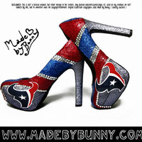 Made to Order Texans NFL Football Crystal Rhinestone Glitter Stiletto / Pumps / Heels / Closed Peep or Open Toe Sexy Sports Shoes