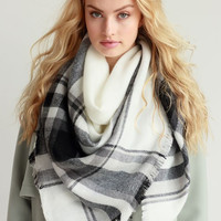 These are the Days White/Black Plaid Blanket Scarf