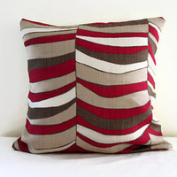 Red brown striped cushion cover , beige brown and red linen pillow cover , 16 inch sham pillow UK designer Romo fabric uk seller