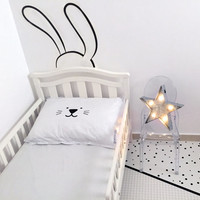 Nursery Wall Decal / Kids Decor / Bunny Wall Decal / Removable Wall Decals / Fabric Wall Decal / Black and White Kids Room / Minimalist Room