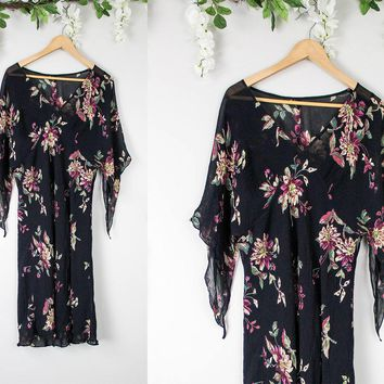 Vintage Floral Black Flutter Sleeve Dress