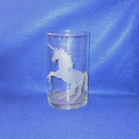 Vintage Retro 80s ETCHED UNICORN Vase Home Decor Frosted GLASS