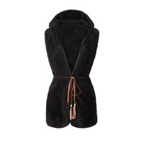 Elegant Women Coat Warm Fake Sheep Velvet Cardigan Hoodie Autumn Winter Fashion Outwear Lacing Coats Doudoune Femme#D929