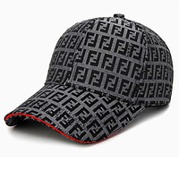 FENDI Trending Women Men Stylish Embroidery Sports Sun Hat Baseball Cap Hat Dark Grey I13657-1