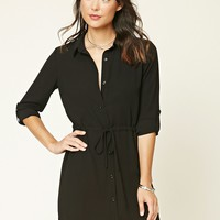 Crepe Drawstring Shirt Dress