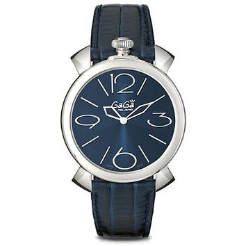 Gaga Milano Men's Watch 46 mm Armbanduhr Sunray effect Blue Dial and Leather Bracelet 5090.04