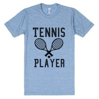Tennis Player-Unisex Athletic Blue T-Shirt