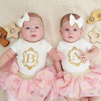 Personalized Monogram Frame Gold Onesuit - Newborn Birth Announcement Shirt - Take Home Outfit - Gold Glitter Bow - Toddler, Child, Infant