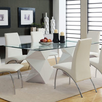 7 Pc. Halawa I collection contemporary style white finish pedestal and glass top rectangular dining table set
