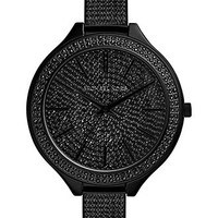 Michael Kors Women's Slim Runway Black Pavé Stainless Steel Bracelet Watch 42mm MK3318