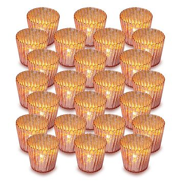 24 Pack | Vintage Mercury Glass Candle Holders (3-Inch, Caroline Design, Vertical Motif, Rose Gold Pink) - For use with Tea Lights - Home Decor, Parties and Wedding Decorations