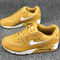Nike AIR MAX 90 air cushion full leather casual shoes F-CSXY Khaki