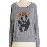 ModCloth Quirky Mid-length Long Sleeve Sweatshirt Badger to the Bone Sweatshirt