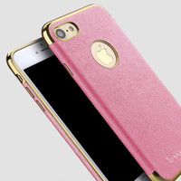 for iphone 7 Plus iphone 7 Case Luxury for Apple iphone 6S 6 Plus Cases Leather +PC Slim Thin Logo Back Cover Gold Black