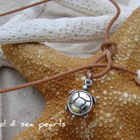 Sea Turtle, Freshwater Pearl and Leather Lariat Necklace....FREE SHIPPING to US
