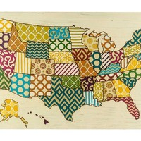 Multi-Pattern USA Map Canvas Art | Shop Hobby Lobby